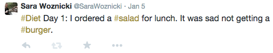 Diet Day 1: I ordered a salad for lunch. It was sad not getting a burger.